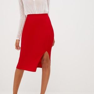 Red Basic Split Midi Skirt